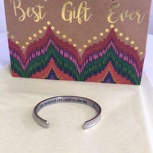Jewelry - NEW Silver inspirational cuff bracelet with box